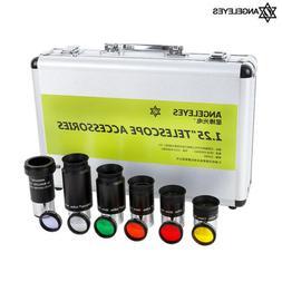 "1.25"" Eyepiece 7.5/15/25/32/40mm 3X Barlow Lens 6 Filters Se"