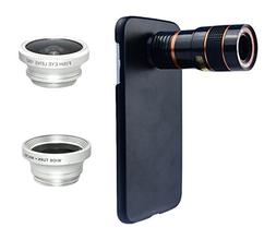 Apexel 4 in 1 Wide Angle Macro Lens + Fisheye Lens + 8X Tele