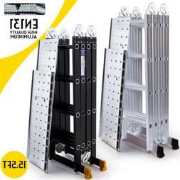 15.5FT Aluminum Multi Purpose Ladder Extension Folding Teles