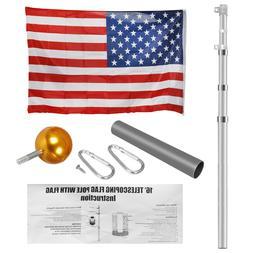 16'20'25' Aluminum Sectional/Telescopic Flagpole Kit Outdoor