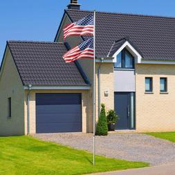 16/20/25ft Flag Pole Telescopic Aluminum Flagpole Kit US Wit