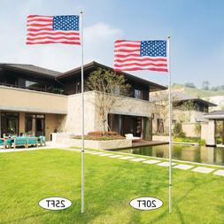 20Ft/25Ft Telescopic Flag Pole Outdoor Aluminum American Fla