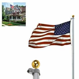 20FT Aluminum Flag Pole Telescopic Flagpole Kit Fly 2 Flags