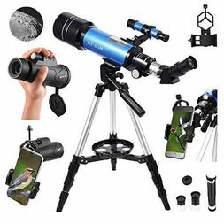 MaxUSee 70mm Refractor Telescope with Adjustable Tripod for