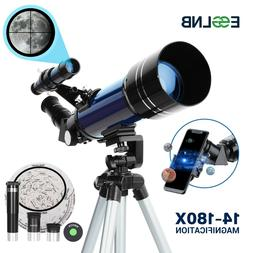 70mm Telescope W/ Mobile Adapter High Tripod 14-180X for Moo