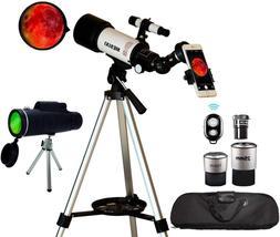 Astronomical Telescopes + Monocular Travel Scope 70mm Apertu