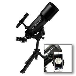AstroVenture Black Portable 80mm Refractor Telescope With Un