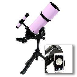 AstroVenture Pink Portable 80mm Refractor Telescope With Uni