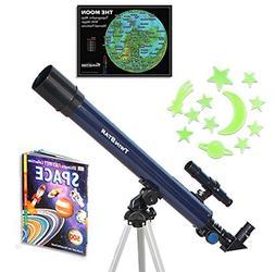 Blue TwinStar AstroMark 50mm 75x Refractor Telescope Kids Pa
