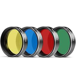 """Neewer 1.25"""" Four Color Filter Set for Telescope Eyepiece:Re"""