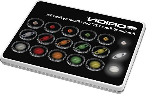 Multiple Colors Orion 5453 Premium 1.25 Inch 20-Piece Color Planetary Filter Set