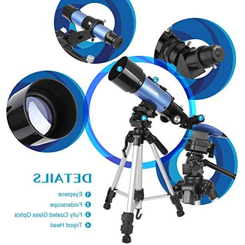 Aomekie Adults Kids Astronomy Refractor with Tripod 10X Eyepiece Adapter Barlow Lens and Backpack