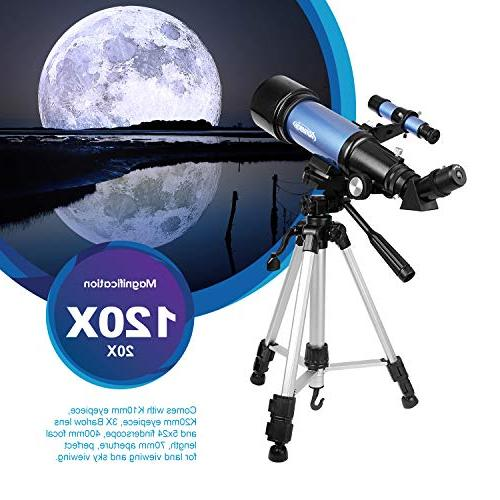 Aomekie for Adults Kids Refractor Telescopes Tripod Eyepiece Phone Adapter and Backpack