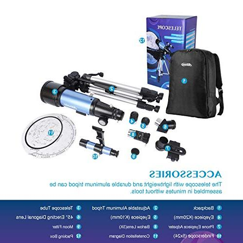 Aomekie Kids Refractor with Adjustable Tripod Adapter Barlow Lens and Backpack