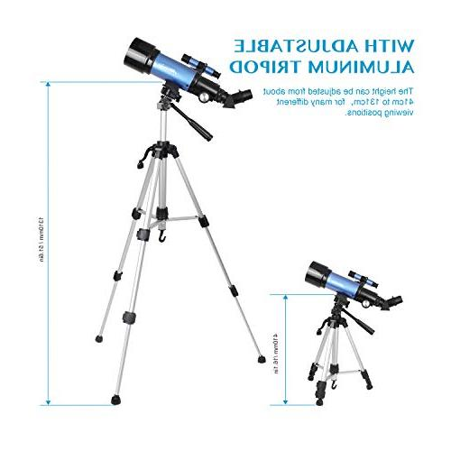 Aomekie Adults Kids Beginners Refractor Telescopes with Adjustable Tripod Adapter 3X and Backpack