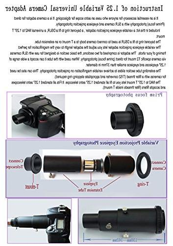 """Gosky Deluxe Adapter Kit for Focus Variable Eyepiece Photography Standard Accepts 1.25"""""""