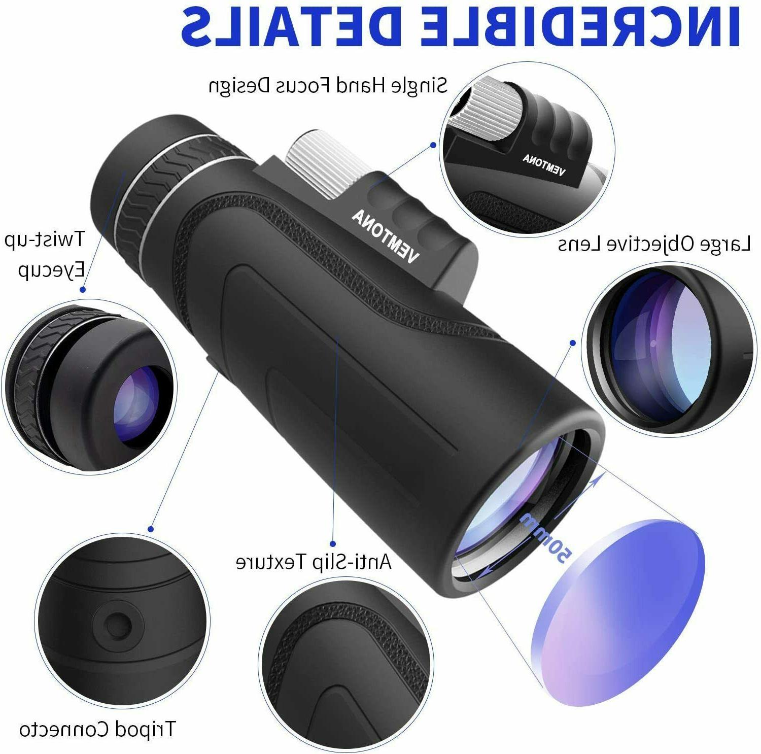 monocular hd telescopes 10x42 waterproof retractable camping