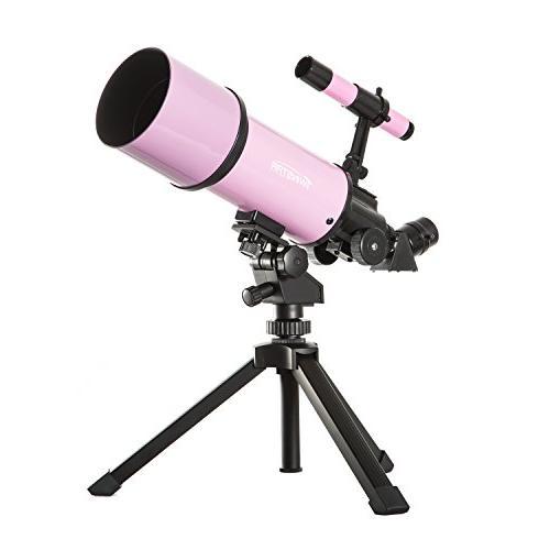 Pink TwinStar AstroMark 80mm 16-40x Power Portable Refractor