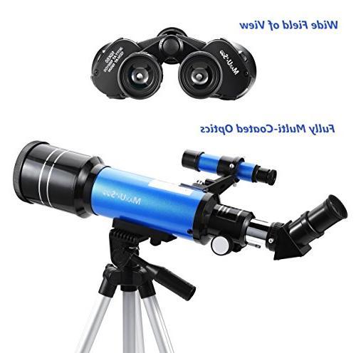 MaxUSee Travel Scope Backpack - 70mm Telescope & Binoculars for Moon Viewing Bird