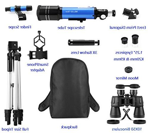Backpack Refractor Telescope Binoculars for Moon