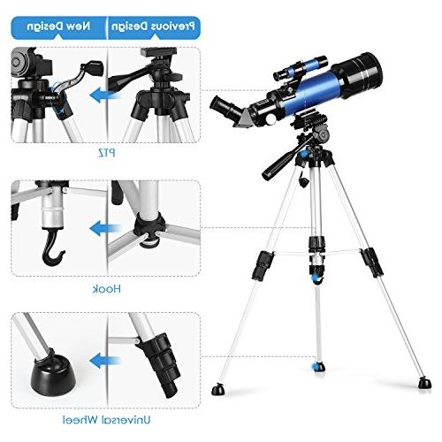 TELMU Refracting Telescope Adjustable Portable Travel with for