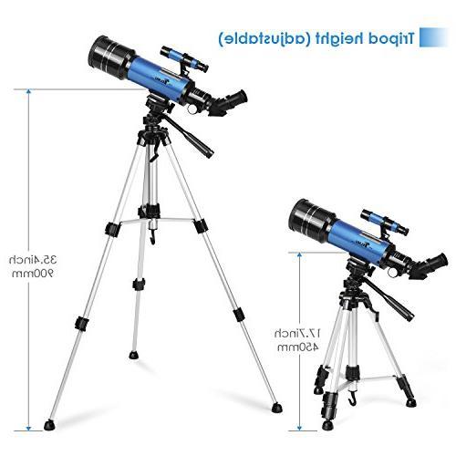 TELMU Telescope 70mm Aperture Refracting Travel Telescopes with Backpack, for Any