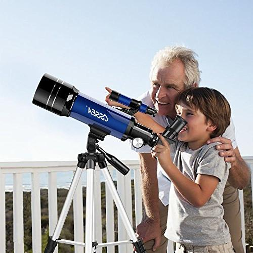 CSSEA Telescope Kids Astronomy Travel Tripod Finder & Two Eyepieces-Perfect for Children Educational