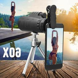 Monocular 50X60 Zoom Optical HD Lens Telescope + Tripod + Cl