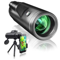 Qhui Monocular Telescope 40x60 with Extendable Tripod and Sm