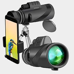 Monocular Telescope, Binrrio 40x60 High Power BAK4 Prism Wat