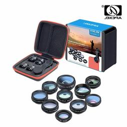 APEXEL Phone Lens Kit 10 In 1 Fisheye Wide Angle Macro Lens+
