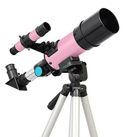 Pink Twinstar 60mm Compact Kids Refractor Telescope by Twin
