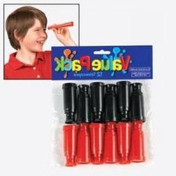 6 Dozen Miniature Plastic Toy Red & Black Pirate Telescopes