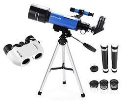MaxUSee 70mm Refractor Telescope + 8X21 Compact Binoculars f