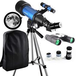 Telescope Travel Scope 70mm Refractor Telescope & 10X25 Bino