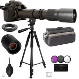 TELESCOPIC TELEPHOTO ZOOM LENS 500-1000MM + XL BAG+ 60' TRIP
