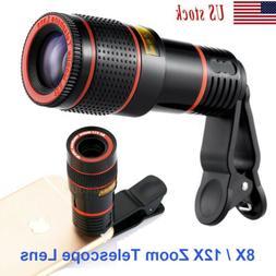 US HD 8X /12X Optical Zoom Universal Camera Telescope Lens+C