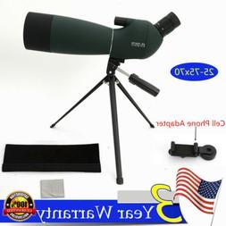 Upgraded Angled Zoom Spotting Scope25-75x70 Waterproof+Tripo