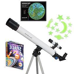White TwinStar AstroMark 50mm 75x Refractor Telescope Kids P