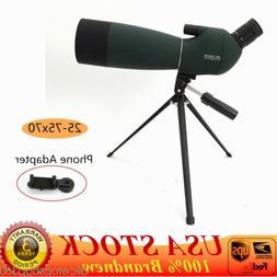 Zoom 25-75X70 Angled Spotting Scope Astronomical Telescope W